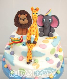 Hayvanlı Pasta Zürafa Aslan Fil