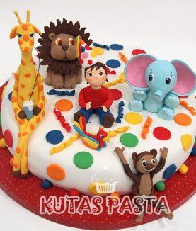 Hayvanlı Pasta Zürafa Fil Aslan maymun