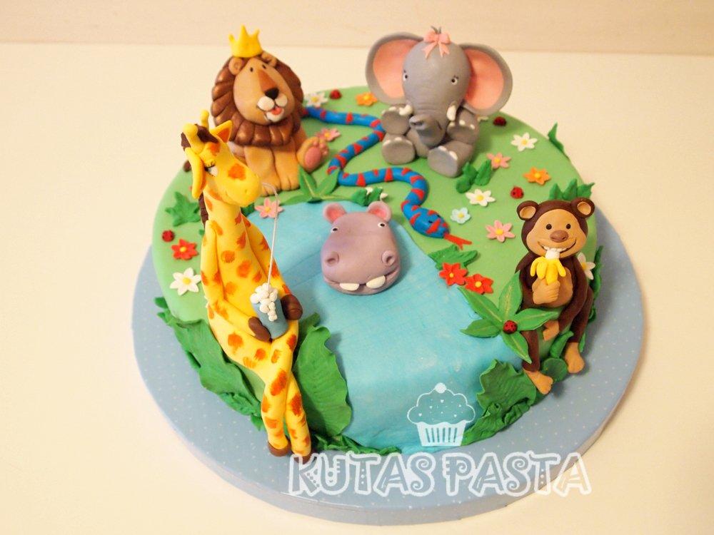 Hayvanlar Pasta Gergedan Maymun Fil Aslan Zürafa