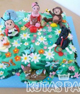 Hayvanlı Pasta Geyik Tavşan Maymun Köpek