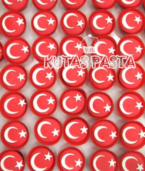 Ay Yıldız Türk bayrağı Cupcake