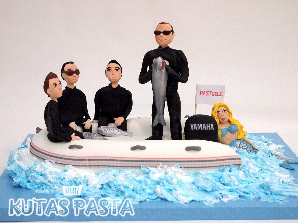 Deniz Kızı Balıkçı Dalgıç pasta