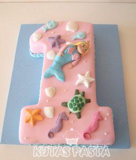 Deniz Kızı 1 Yaş Pastası