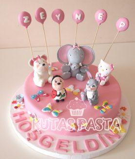 Hayvanlı pasta Fil Tavşan Ayı Uğur Böceği
