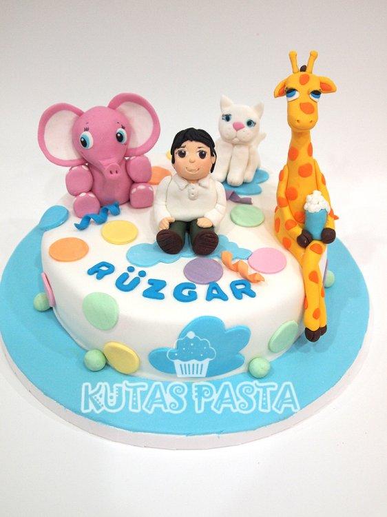 Hayvanlı Erkek Çocuk Pasta Fil Kedi Zürafa