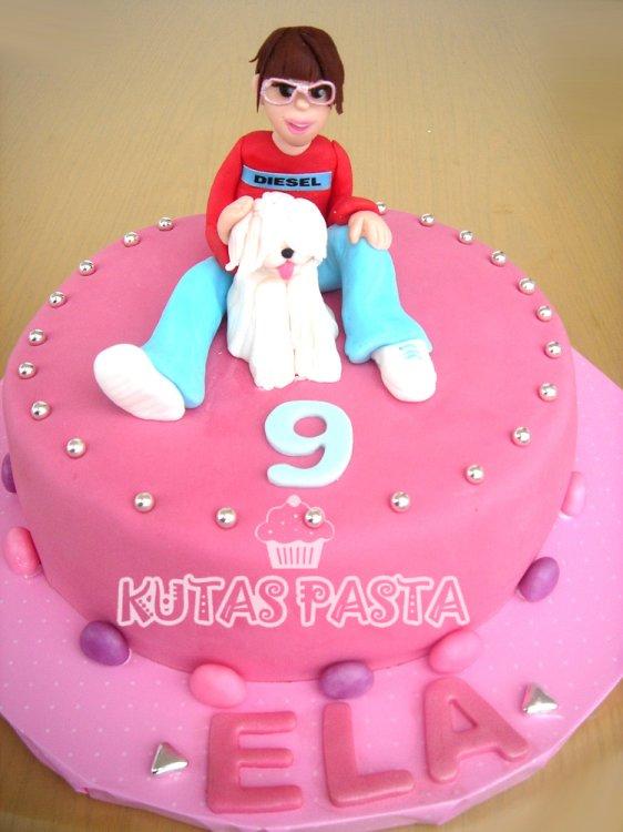 Köpekli Kız Çocuk Pastası 9 yaş