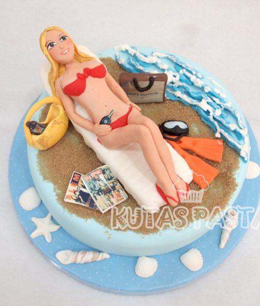 Deniz Plaj Kokoş Pasta Bikini Kadın