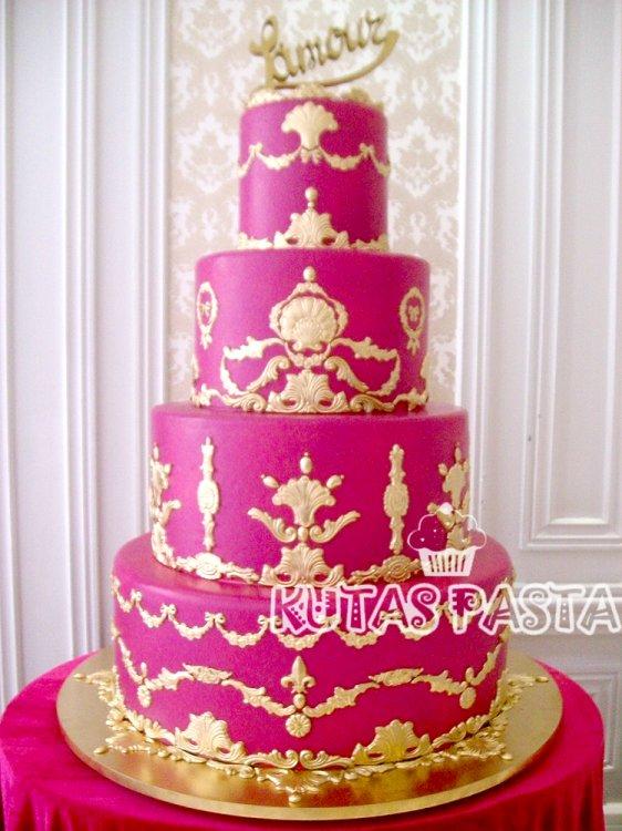 Düğün Pastası Fuşya Pembe