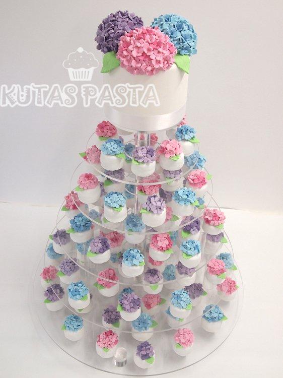 Ortanca Çiçekli Düğün Pastası