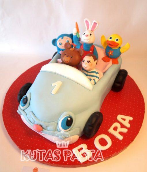 Hayvanlı Oyuncak Araba Pasta 1 Yaş