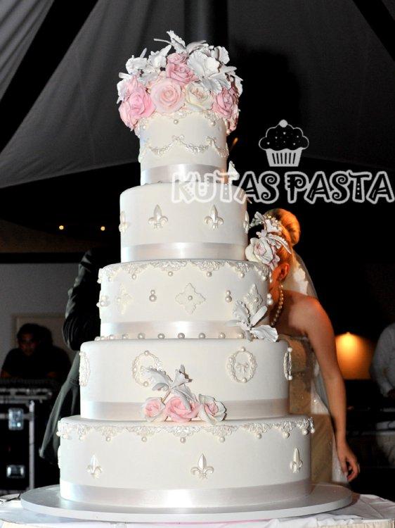 Düğün Pastası Pembe Güllü Sedef