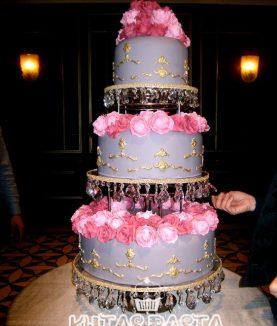 Düğün Pastası Pembe Güllü Altın