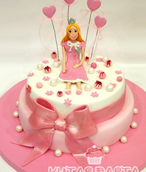 Prenses Kız Pasta Pembe