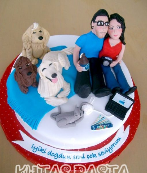 Sevgili Çift Pasta Köpekli